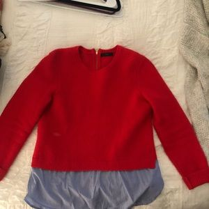 Sweater with chambray under lay